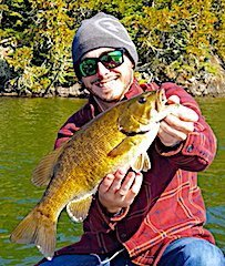 Trophy Smallmouth Bass Ned Rig Fishing by Kevin