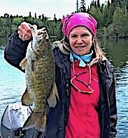 19.25-inch Trophy Smallmouth Bass by Linda Fishing at Fireside Lodge in Canada