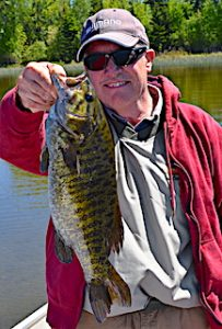 Trophy Smallmouth Bass by Paul on 1st Day Fishing at Fireside Lodge in Canada