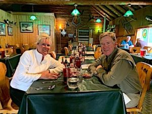 Nancy and Rick Enjoying a Great Meal in the Dinning Room After Fishing at Fireside Lodge in Northwest Ontario Canada