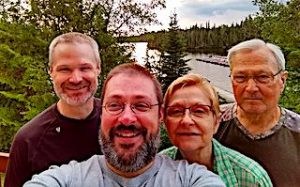 Sparks Family Selfie From The Deck of Their Cabin at Fireside Lodge in Northwest Ontario Canada