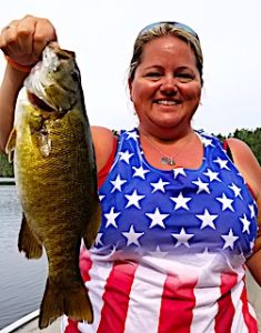 Angie With a BIG Smallmouth Bass Fishing at Fireside Lodge in Ontario Canada