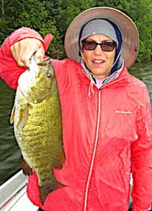 Giant Trophy Smallmouth Bass by JoAnn at Fireside Lodge in Canada