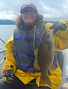 BIG Smallmouth Bass Smile Fishing by Mary in Canada