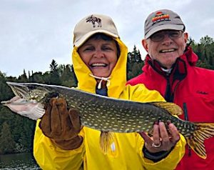Mike and Heather Having a Ball Fishing at Fireside Lodge in Northwest Ontario Canada