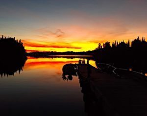 Canadian Wilderness Fishing Lodge by Fireside Lodge Docks at Sunset